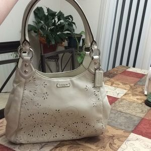 Coach Ashley white laser cut hobo handbag